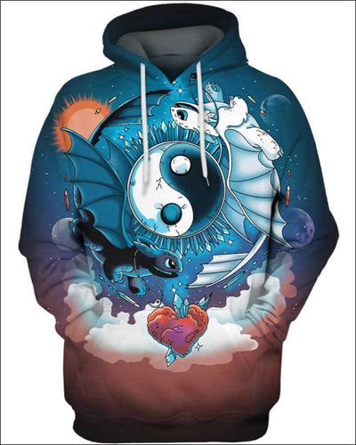 Ying Yang Dragons - All Over Apparel - Hoodie / S - www.secrettees.com