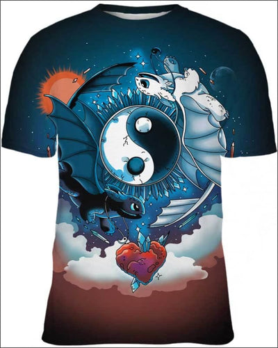 Ying Yang Dragons - All Over Apparel - Kid Tee / S - www.secrettees.com