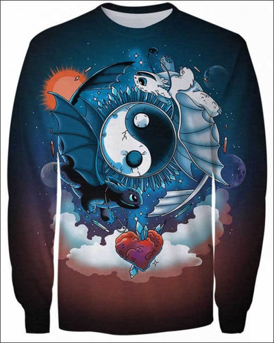 Ying Yang Dragons - All Over Apparel - Sweatshirt / S - www.secrettees.com