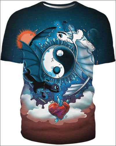Ying Yang Dragons - All Over Apparel - T-Shirt / S - www.secrettees.com