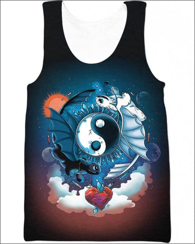 Ying Yang Dragons - All Over Apparel - Tank Top / S - www.secrettees.com