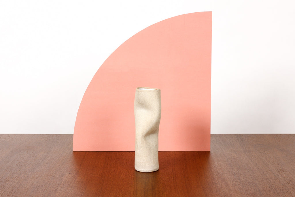 #1781 — Organic Modern / Primitive  Sculptural Extruded Ceramic Stem Vase — Two Pinch — White Stoneware