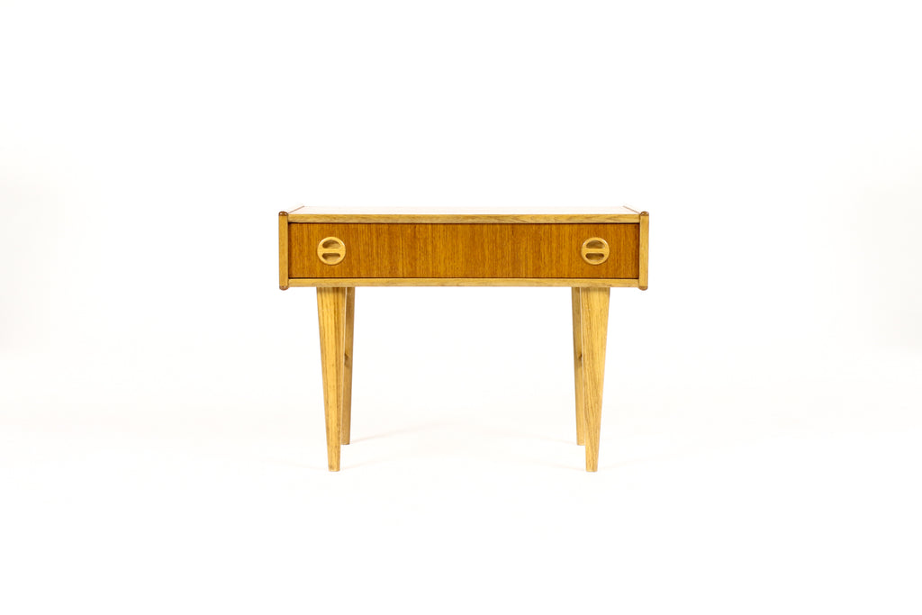 #1716 — Danish Modern / Mid Century Teak Low Entry Table / Console — Single Drawer