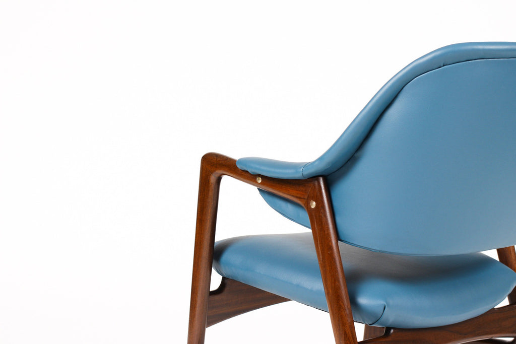 #1057 — Danish Modern / Mid Century Mahogany Framed Lounge Chair — Blue Vinyl — Ingmar Relling for Westnofa