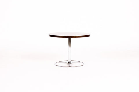#860 — Danish Modern / Mid Century Round Rosewood Side table — Chrome Pedestal Base — Figural Grain