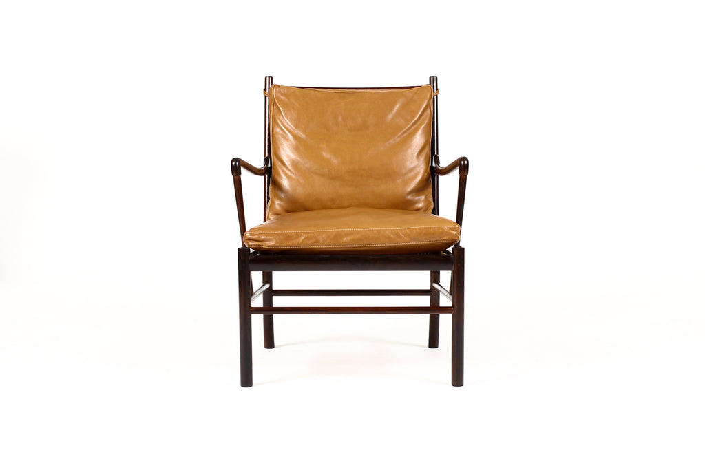 #1765 – Danish Modern / Mid Century Rosewood Colonial Armchair – Ole Wanscher for Poul Jeppesen – Cognac leather