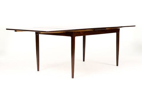 #1733 — Danish Modern / Mid Century Rosewood Dining Table — Rectangular Draw Leaf — Axel Christiansen for ACO Mobler