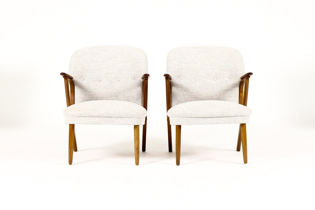 #1756 – Danish Modern / Mid Century Upholstered Teak Lounge / Armchairs – Light Gray Textile – Pair