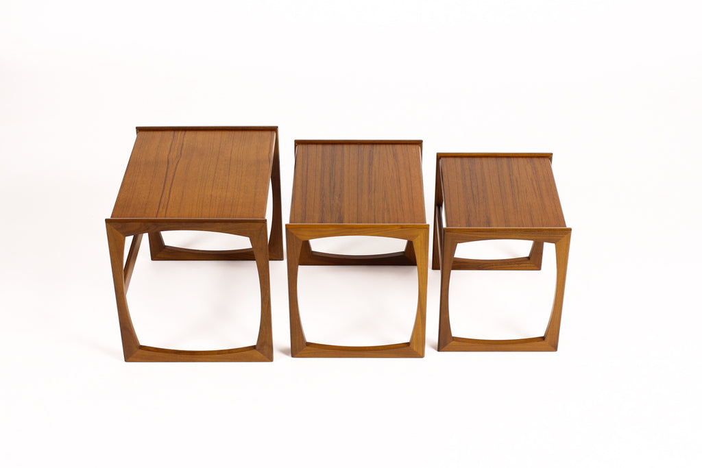 #1264 - Danish Modern / Mid Century Teak Nesting Tables (set of 3) Straight side Profile - G Plan