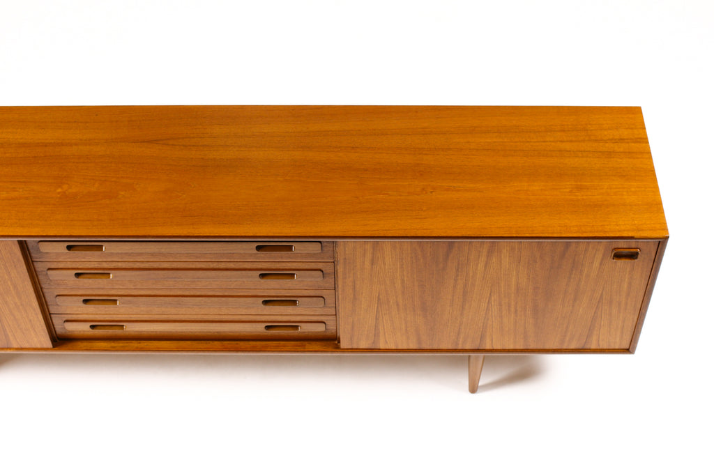 #1690 — Danish modern / Mid Century Large Teak Credenza / Sideboard — Sliding Doors — Four Drawers — Routed Pulls