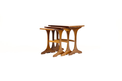 #1518 — Danish Modern / Mid century Teak Nesting tables by G-Plan — Trestle base — Set of Three