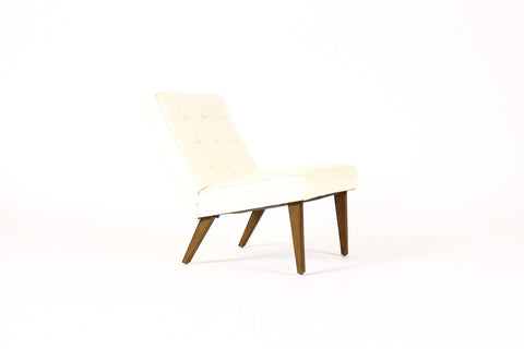 #747 — Danish Modern / Mid Century Low Lounge / Armless Slipper chair — Pearl White Tufted Vinyl
