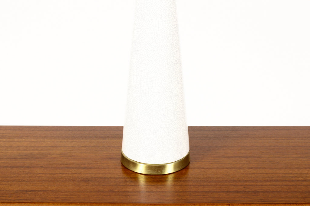 #1651 — Vintage Mid Century Tall Ceramic Table Lamp — Conical Taper with Brass Detailing