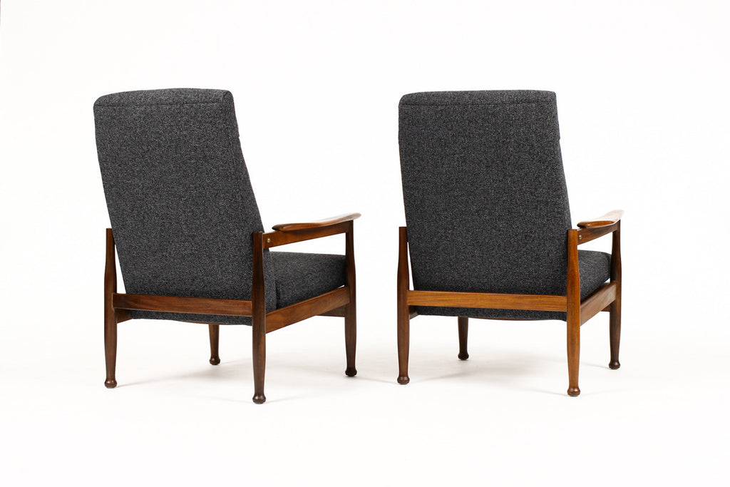 #1167 — Danish Modern / Mid Century Teak Reclining Lounge Chairs — Charcoal Textile — 'Manhattan Chair' — Pair