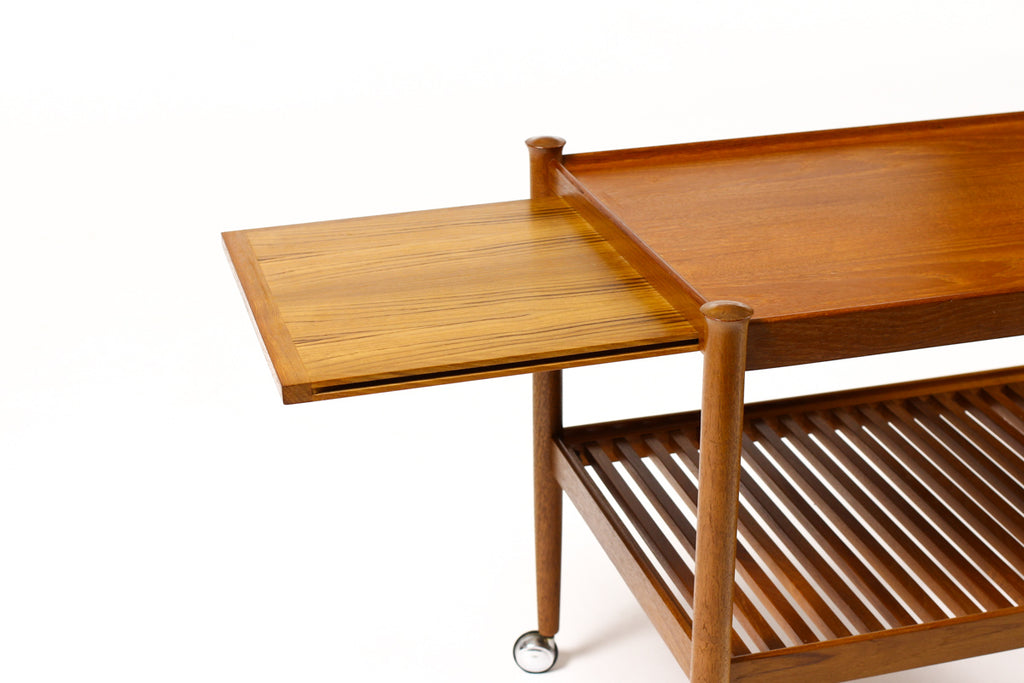 #1382 — Danish Modern / Mid Century Teak Bar Cart / Rolling Tea Service — Slat Shelf