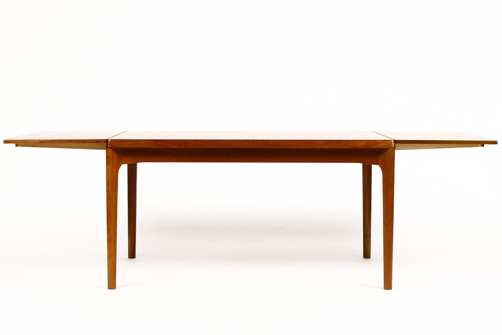 #1525 — Danish Modern / Mid Century Teak Expandable Dining Table — Rectangular — Draw Leaf — Vejle Stole Møbelfabrik