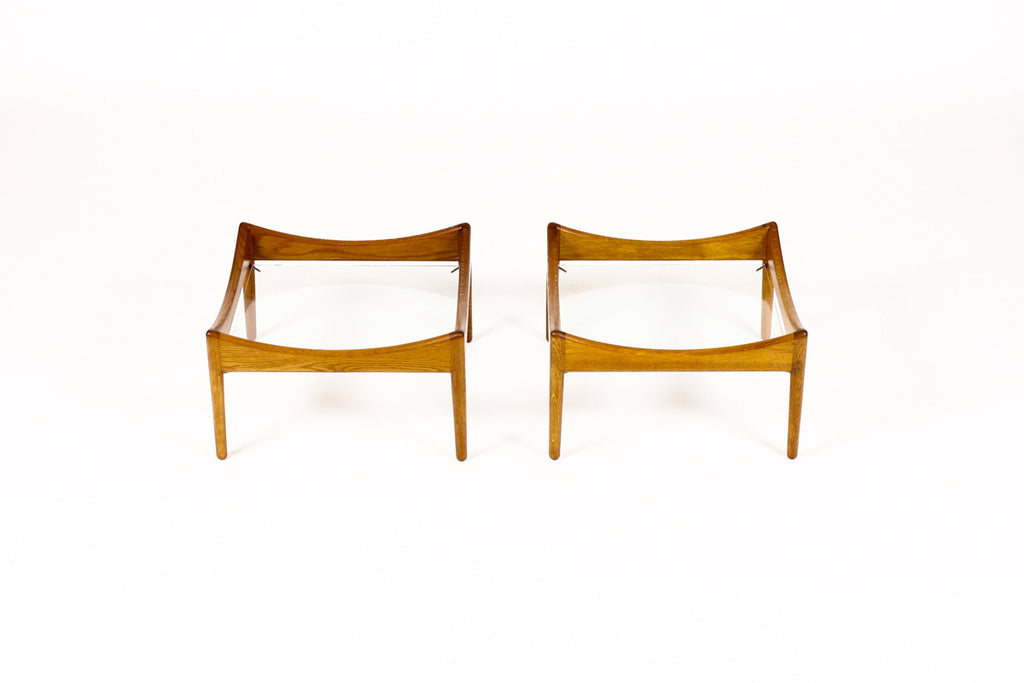 #1011 — Danish Modern / Mid Century Modus End / Coffee Tables by Kristian Vedel for Soren Willadsen — Glass Top — Pair