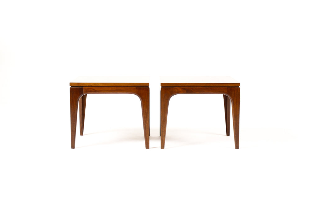 #1656 — Danish Modern / Mid Century Square Walnut Side Tables — Pair