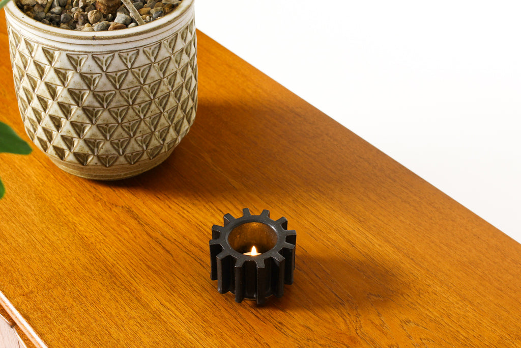 #1471 — Stoneware Cog Tea Light Holder — Matte Black