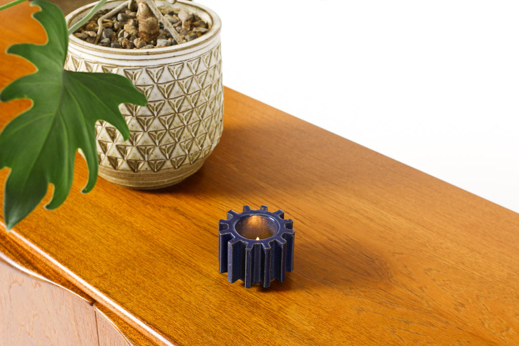 #1470 — Stoneware Cog Tea Light Holder — Cobalt Blue