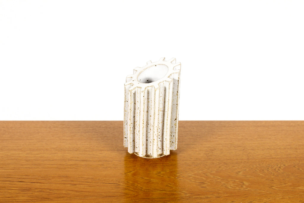 #1465 — Stoneware Cog Tool / Pencil Holder — Matte White Glaze