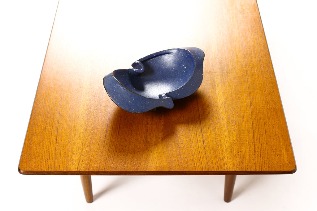 #1549 — Modernist Hand-Built Stoneware Sculptural Footed Bowl — Matte Blue Glaze — JR4