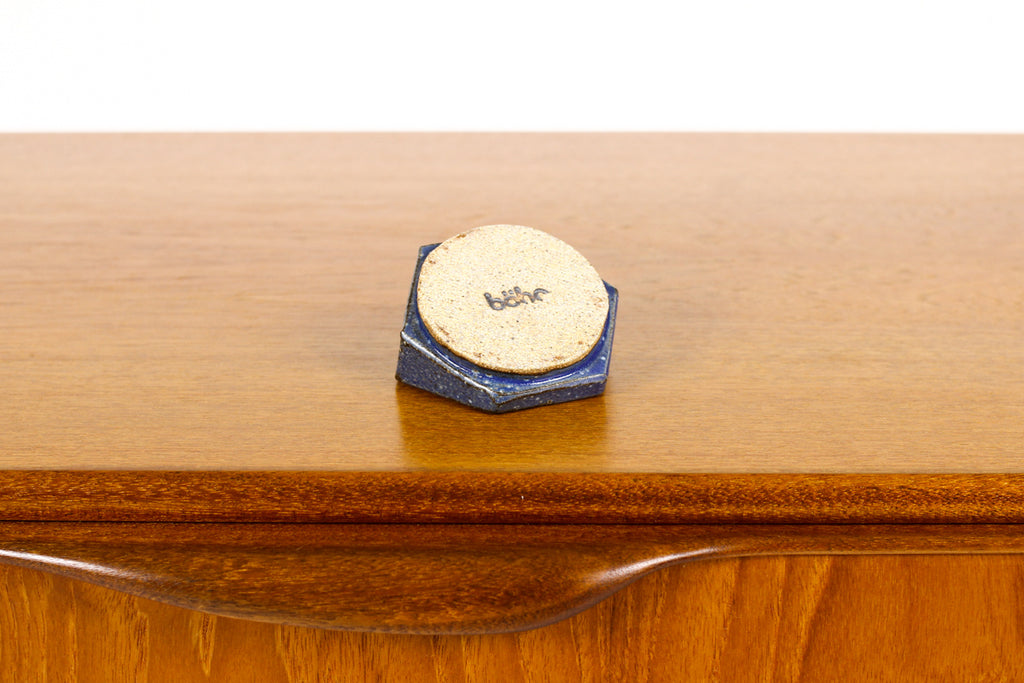 #1463 — Stoneware Hex Ring Holder / Tray — Cobalt Blue Glaze