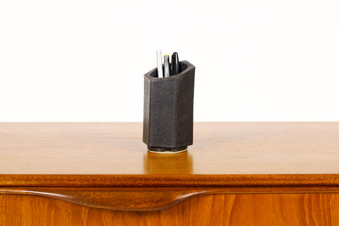 #1462 — Stoneware Hex Tool / Pencil Holder — Matte Black Glaze