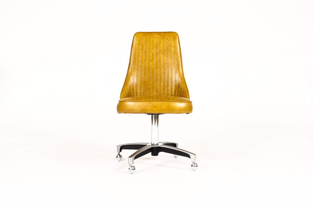 #1117 — Mid Century Vintage Chromcraft Rolling Bucket chair — Butterscotch ribbed vinyl