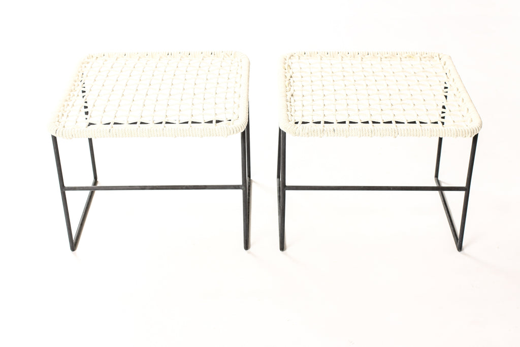 #1729 – Mid Century Bronze Patio Ottomans / Side Tables – Kurt Voss Metals