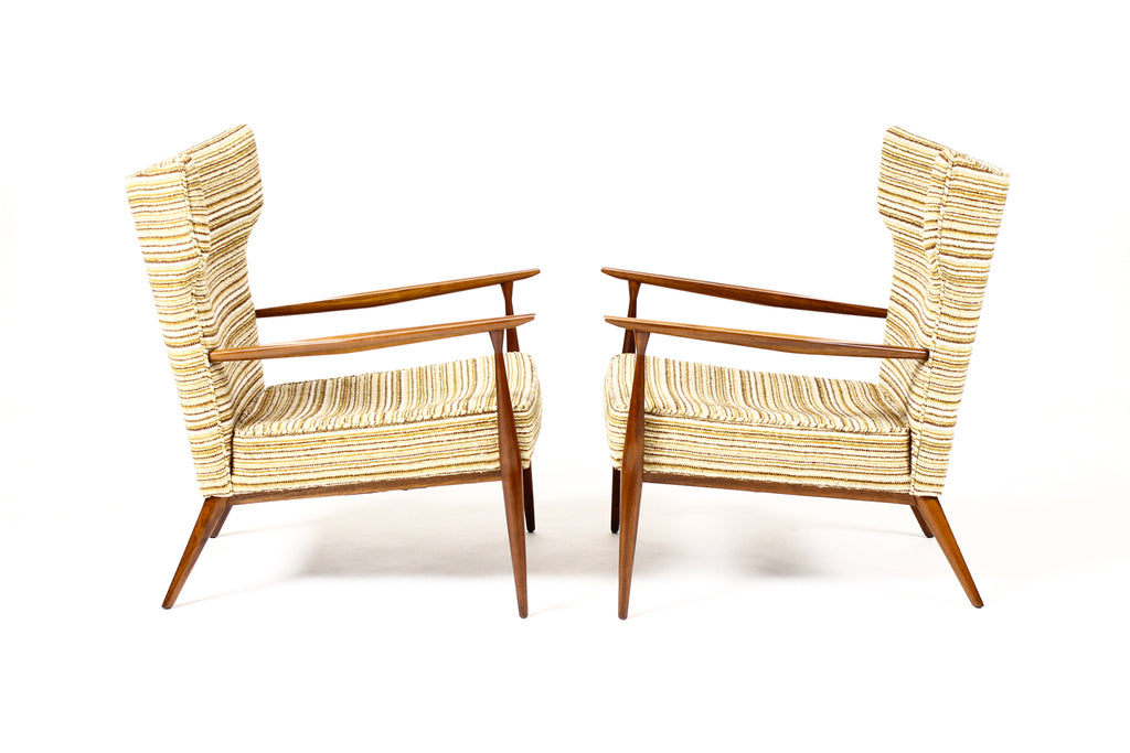 #1674 — Mid Century Wingback Lounge Chairs by Paul McCobb for Directional — Walnut frames — Reupholstery Included
