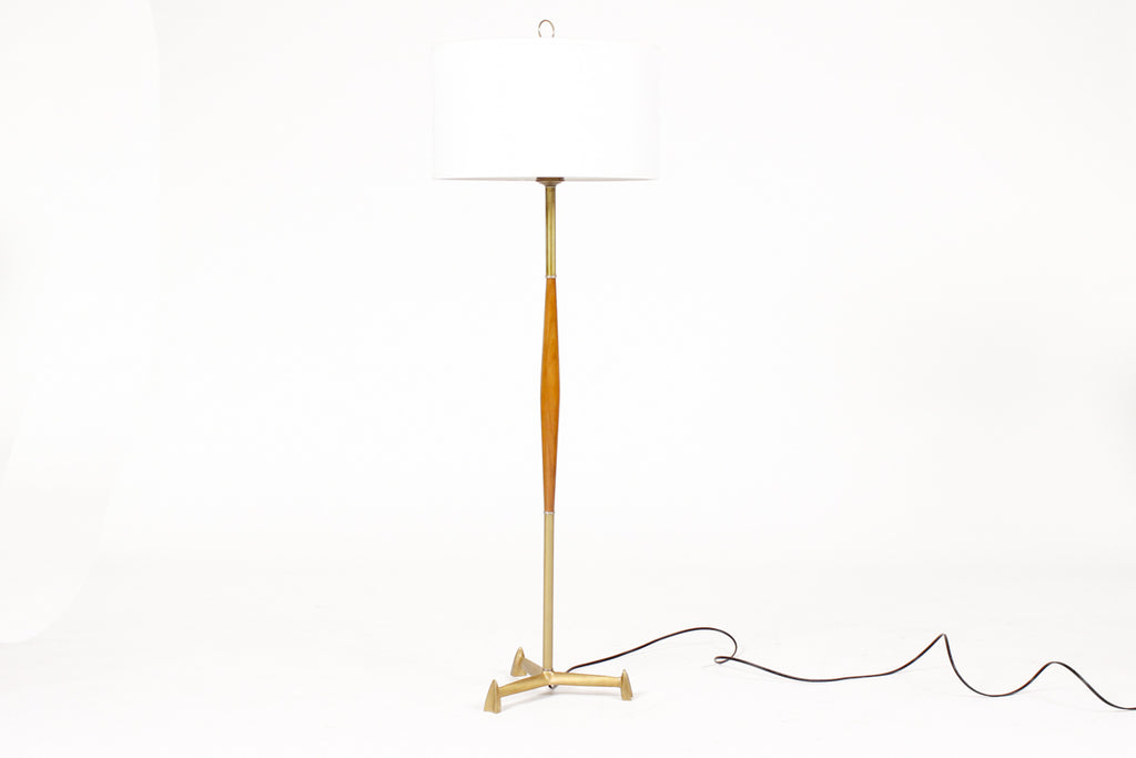 #1422 — Mid Century Vintage Tripod Floor Lamp - Cast Brass + Walnut