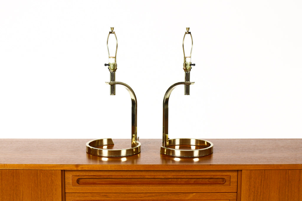 #1789 — Mid Century Vintage Deco Brass Curved Table Lamps — 80's Modern — Pair