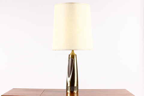 #796 — Mid Century Vintage Table Lamp by Laurel - Brass + Walnut - Large Sculptural casting