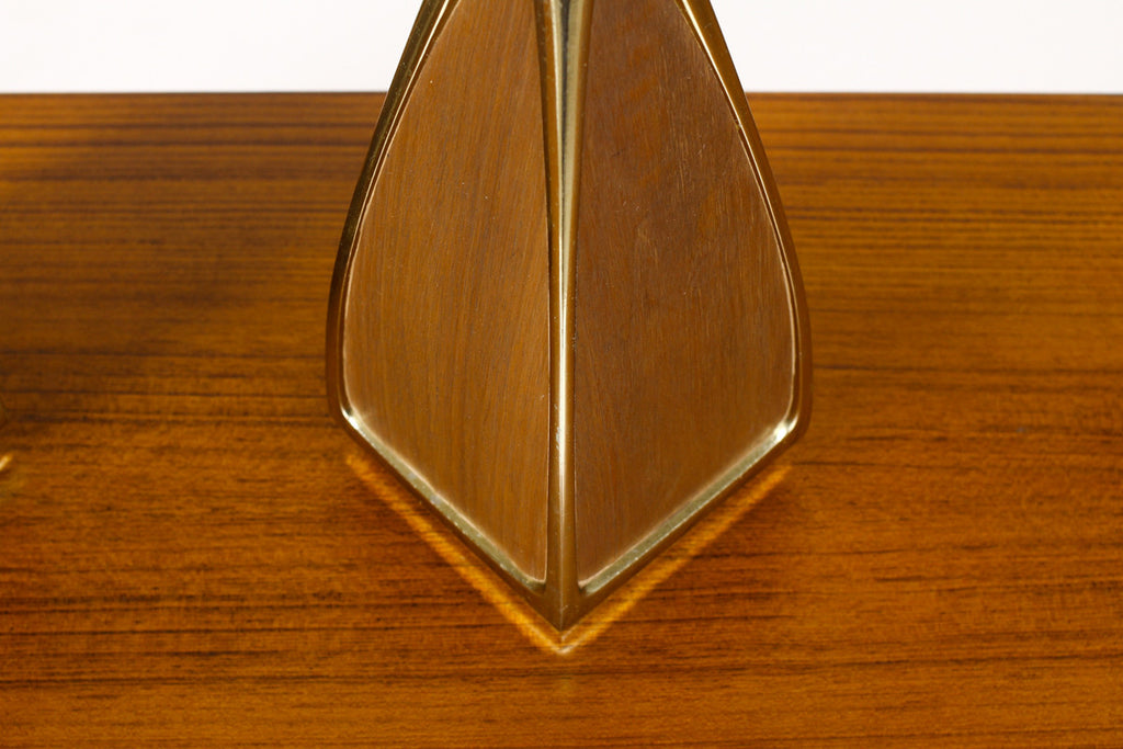 #948— Mid Century Vintage Table Lamp by Laurel - Brass + Walnut - Sinuous Edge - Square base — Pair