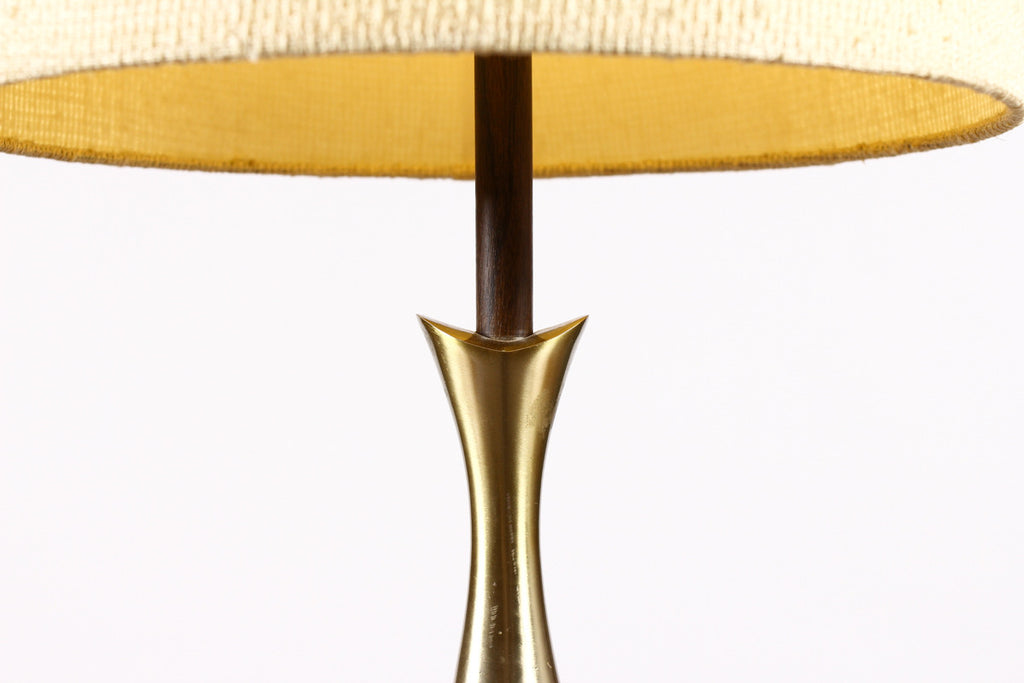 #798 — Mid Century Vintage Table Lamp by Laurel - Brass + Walnut - Teardrop Body - Tony Paul