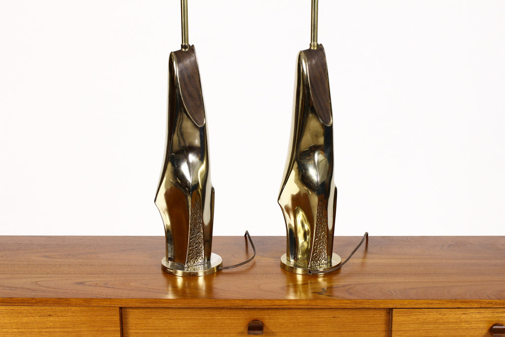 #763 — Vintage Mid Century Pair of Table Lamps by Laurel - Sculptural Cast Brass Abstract forms w/ brass inlay