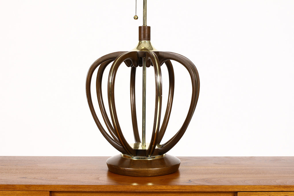 #761 — Vintage Mid Century Modeline Tall Table lamp - Bulbous Sculpted Walnut frame with Brass trim