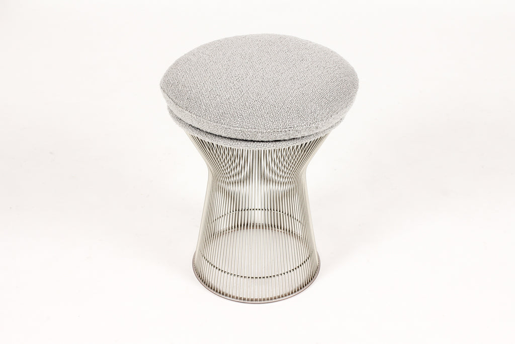#1752 – Mid Century Vintage Warren Platner Foot Stools / Ottomans – Knoll International – Gray Bouclé