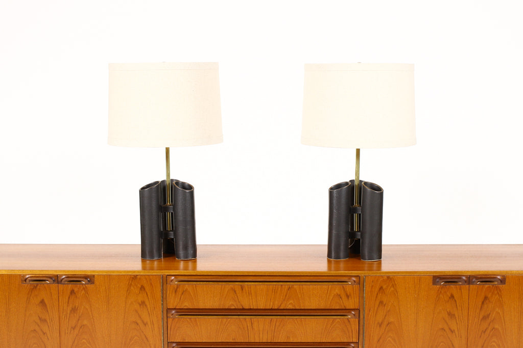 #1580 — Geometric Brutalist Stoneware Table Lamps — Matte Black Glaze — Pair