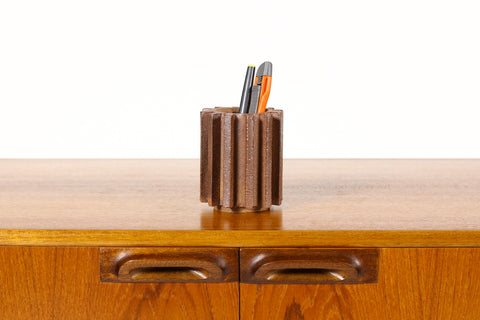 #1553 — Stoneware Ceramic Modernist Cog Tool / Pencil Holder — Raw Clay + Green Glaze Interior