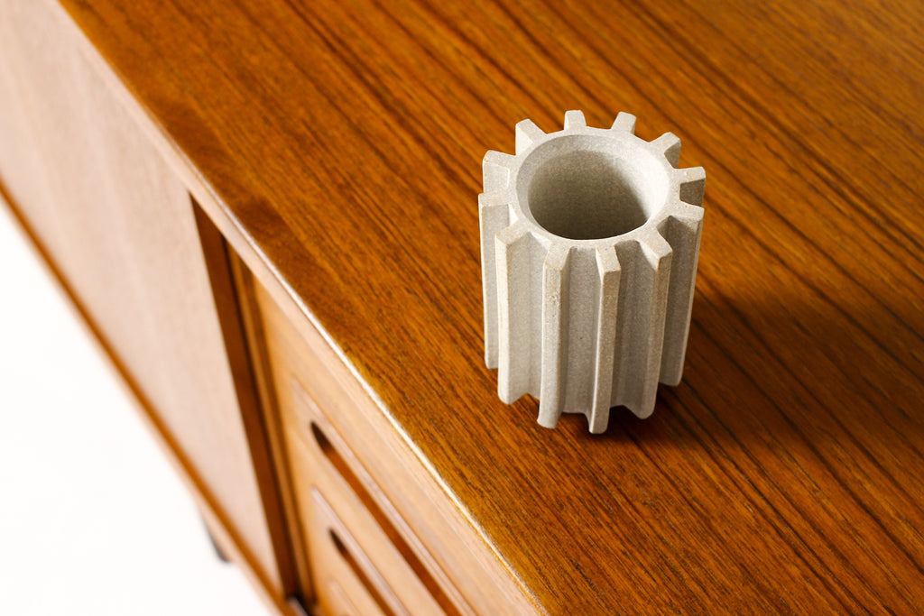 #1785 — Stoneware Ceramic Modernist Cog Tool / Pencil Holder — White Stoneware