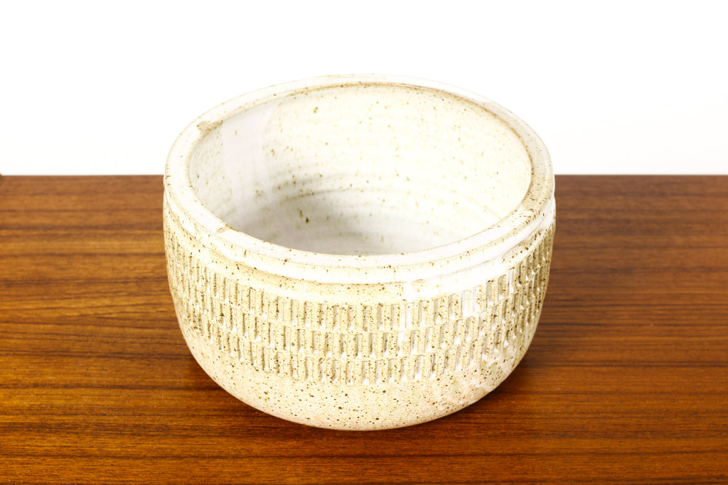 #1638 - Ceramic Stoneware Modernist Planter — Slot Pattern — White Glaze — P101