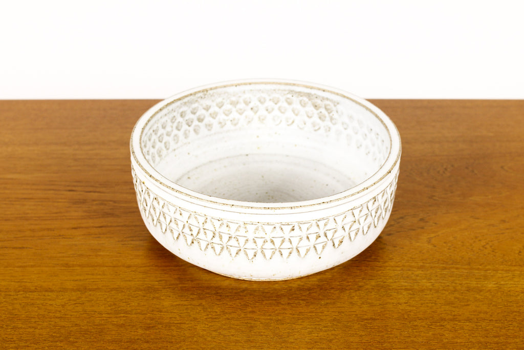 #1494 —Ceramic Stoneware Planter —Small Delta pattern —White Glaze — P62
