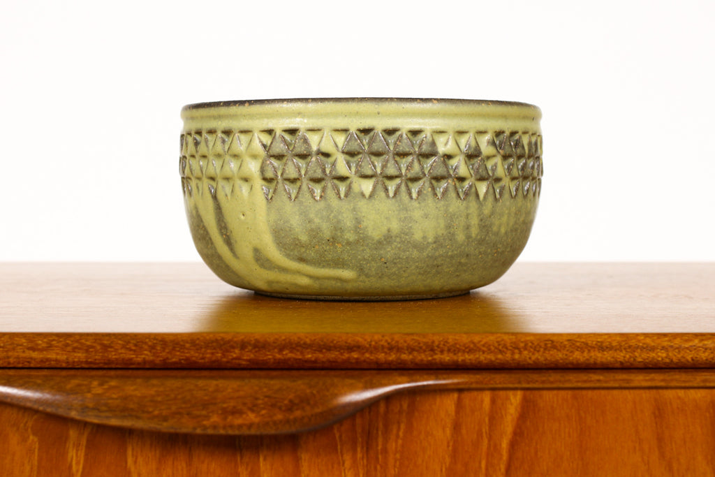 #1495 —Ceramic Stoneware Planter —Small Delta pattern —Algae Green Glaze — P63