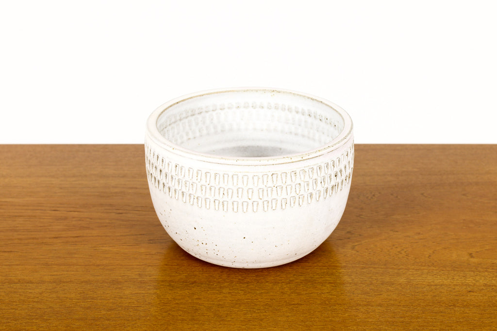 #1497 —Ceramic Stoneware Planter —Small Facet pattern —White Glaze — P65