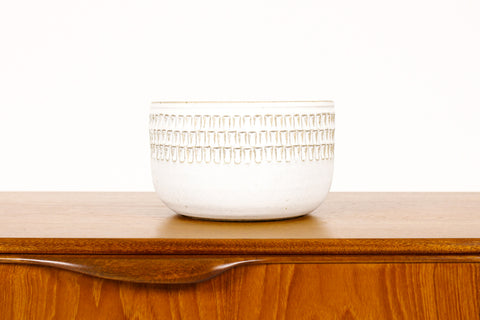 #1503 —Ceramic Stoneware Planter —Large Facet pattern —White Glaze — P71