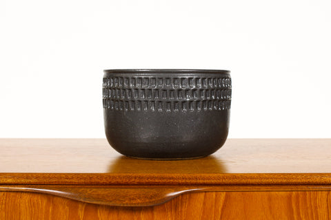#1505 —Ceramic Stoneware Planter —Large Facet pattern —Black Glaze — P74