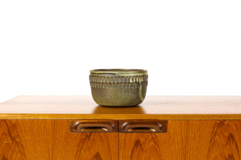 #1559 —Ceramic Stoneware Modernist Planter — Large Facet pattern — Algae Green Glaze — P76