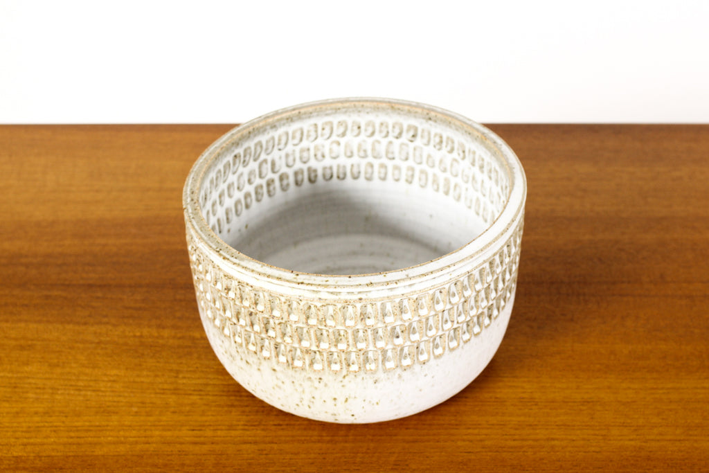 #1566 —Ceramic Stoneware Modernist Planter — Large Facet pattern — Matte White Glaze — P83